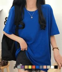 Comfortable to wear over-fit plain plain short-sleeved tee