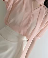 Vancle see-through tie blouse 4color