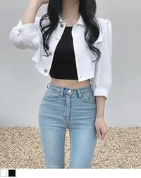 chaos linen cropped jacket