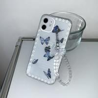 Blue Butterfly Pearl Key Ring iPhone Case