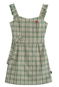 HEART CLUBFrill-Trimmed Strap Check Dress