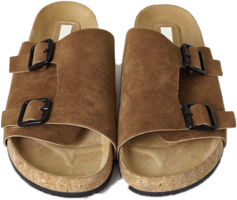 Two Buckle Nubuck Cover Slippers