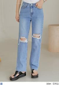 Ripped Knee Straight Jeans