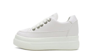Isshu White Lace-up Whole Heel Wedge Height Sneakers 10424 ♡20th Sold Out♡