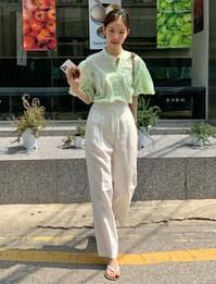 Mayby Linen Wide Banding Pants