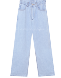 Banded Waist Straight Jeans