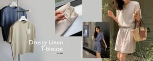 MMMM# Exclusive Order/Same Day Delivery Dressy Linen T-Blouse