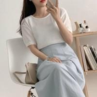 Soft Cool Round Short Sleeve Knitwear