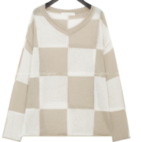 Checkered Pattern Knit Top