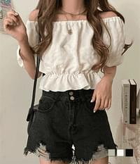 Fly lightweight two-way off-the-shoulder blouse