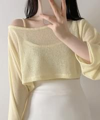 Michelle See-through Crop Knitwear + String Sleeveless 3color