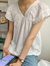 lace wings sleeve blouse