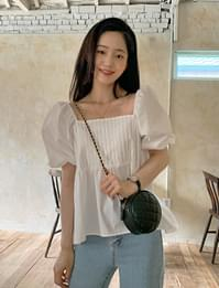 two way pintuck puff blouse