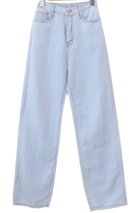 Linen Back Band Semi-Wide Jeans