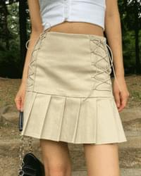 two strap pleated mini skirt