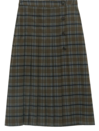 Awesome pleats check long skirt