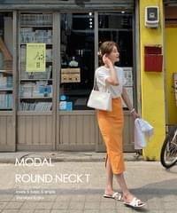 Modal Round Short Sleeve T-shirt - 8color