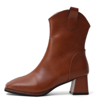 Square Outsole Simple Western Middle Boots 11032