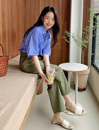 Double Pintuck Cropped Wide Cotton Pants