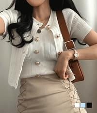 Popping Gold Button Sleeveless Cardigan Two-Piece Set