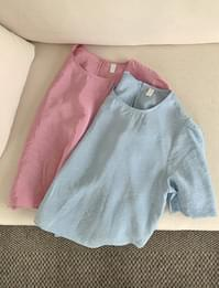 Glossy puff short sleeve blouse