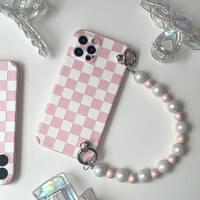 Pink Gingham Check Pearl Strap iPhone Case