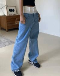 High-waisted two-button color matching denim pants