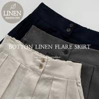 Two-button pin-tucked linen long skirt
