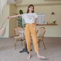 Royne tapered banding cotton trousers