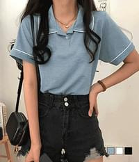 Oyes color matching collar short sleeve T-shirt