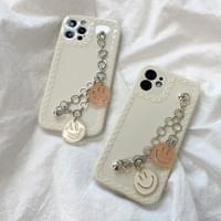 Beige Smile Chain Strap Full Cover iPhone Case