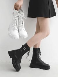 Ankle Strap Whole Heel Lace-Up Walker Ankle Boots 9145