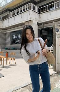 clear string short sleeve blouse