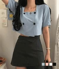 Murphy square-neck buttoned blouse