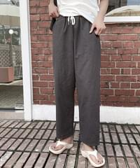 Void Linen Easy Banding Pants - Beige Same Day Shipping