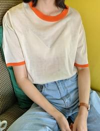 Juicy Color Matching Short Sleeve Knitwear