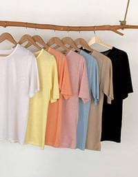 Linen short sleeve tee with less scratchiness