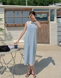 Simple lace front slit overalls Dress