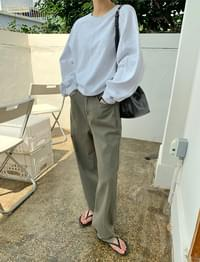 Ankle Pintuck Wide Cotton Pants