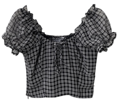 Humming Check Off Shoulder Puff Blouse