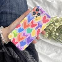Colorful Heart Sticker Transparent Jelly iPhone Case