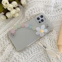 Matte Bead Flower Candy Strap Transparent Jelly iPhone Case