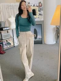 Pointed Back Banding Cotton Wide Pants