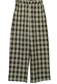 26-30 Inch Tri-banding Check Wide Pants