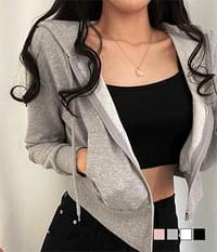 cropped hooded zip-up