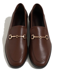 gold buckle flat loafers