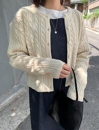 cable round cropped cardigan