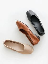 Touching leather height flat shoes 3cm