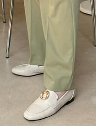 gold buckle flat penny loafers