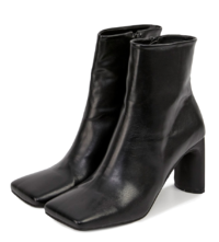vivid square ankle high heel boots